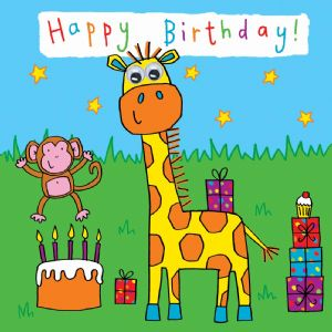 Childrens Birthday Card - Giraffe